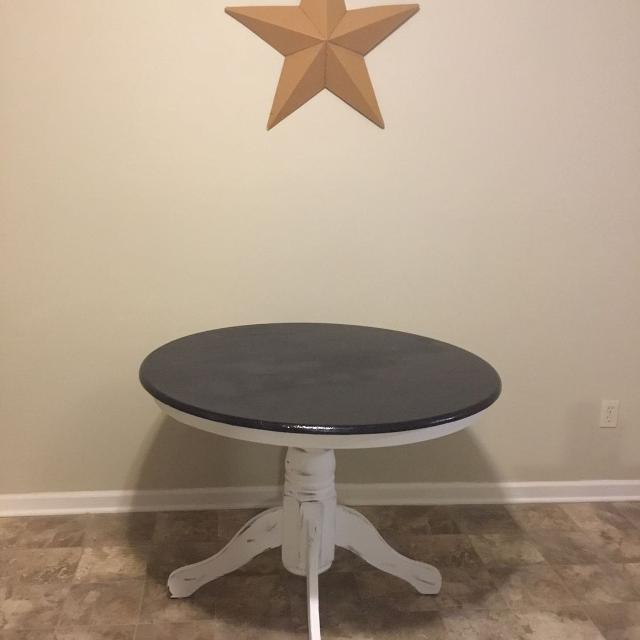 Find More Round Kitchen Table Solid Black Top Distressed White Bottom For Sale At Up To 90 Off