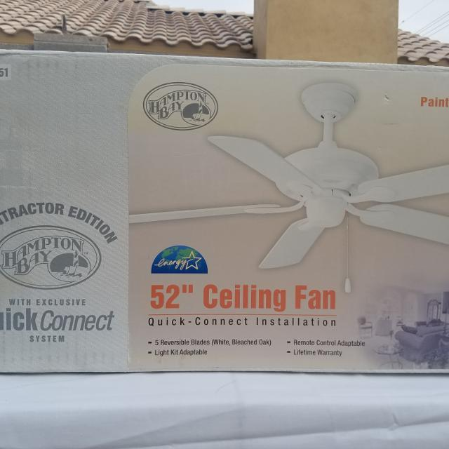 Best Hampton Bat New 52 In White Ceiling Fan 654 451 For Gilbert Arizona 2019