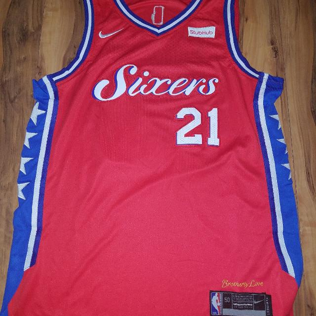 super popular ba99b b7a08 Philadelphia 76ers Basketball Joel Embiid Jersey #21 Size Red Large