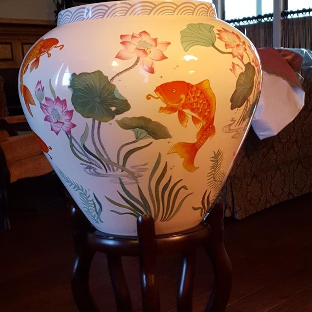 Best Lg Golden Carp Vase Wrosewood Stand Paperworkduced