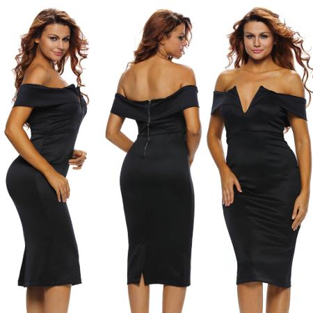 28ac3123a4 XS Small Midi Cocktail Off the Shoulder Black Sexy Formal Evening Date Dress