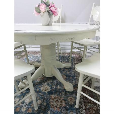 Dining Table With 5 Press Back Chairs