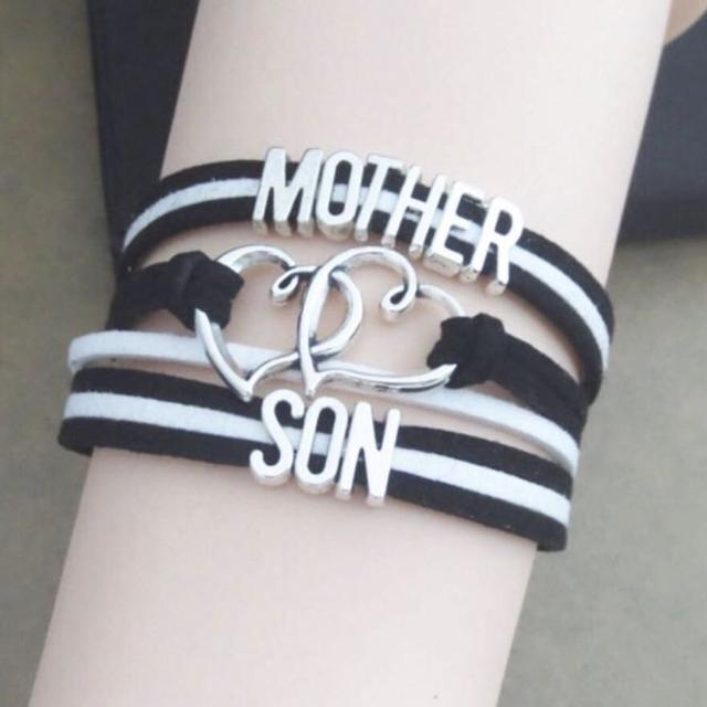 Brand New Mother Son Black And White Infinity Bracelet