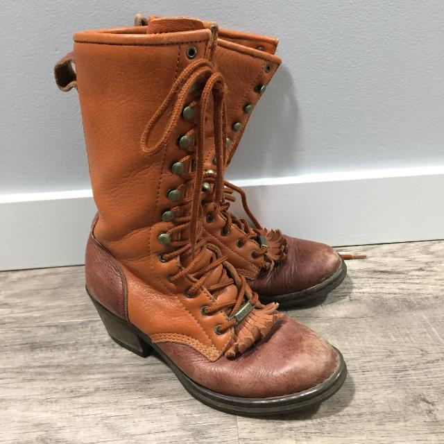 eab0bfe12c213 Leather Laceup Cowboy Boots