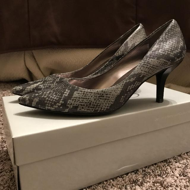 740f2bd860 Find more Jessica Simpson 6 Snake Print Grey & Charcoal Kitten Heels ...