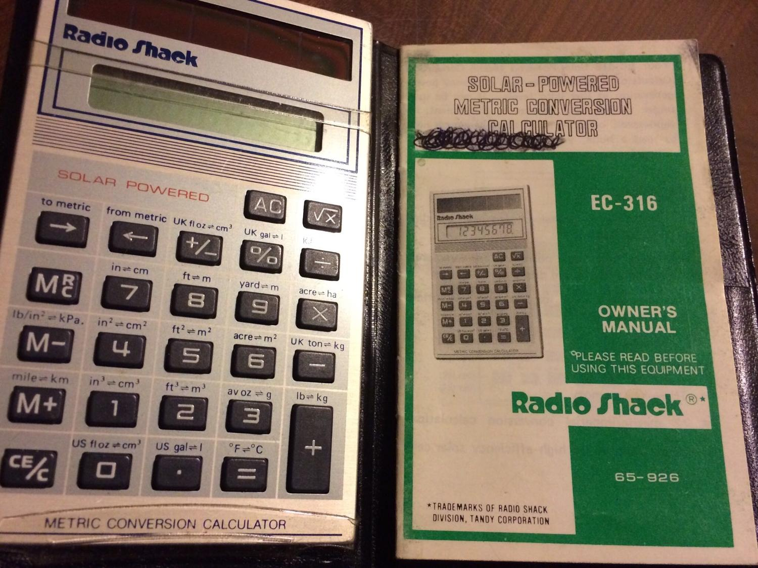 Calculator Solar Powered Bought at Radio Shack Vintage EUC