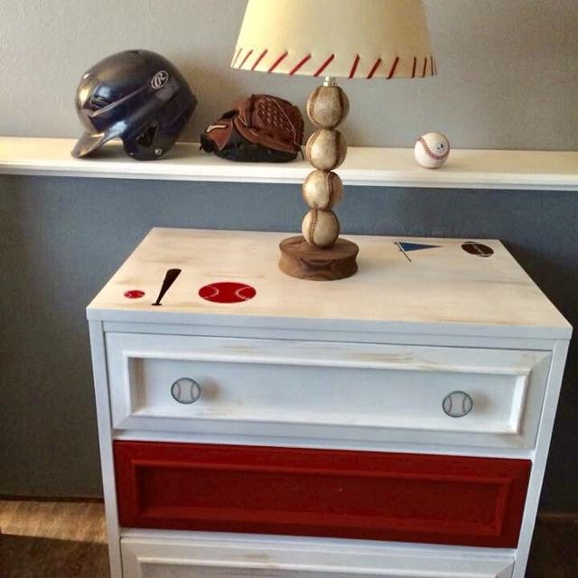 Cute Sports Themed Dresser Or Night Stand