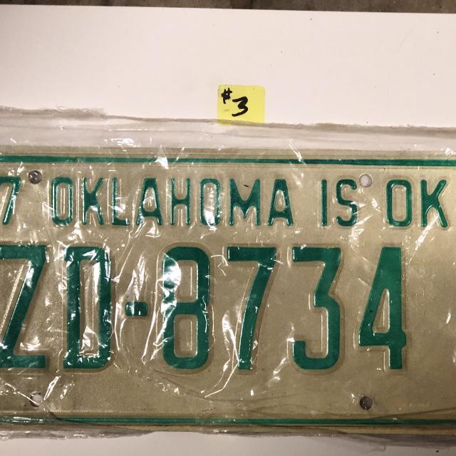 1977 OKLAHOMA LICENSE PLATE TAG