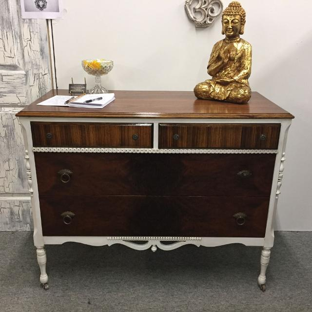 Antique Rochester made Geo J Michelsen Furniture Co. Dresser finished in  natural wood and white - Best Antique Rochester Made Geo J Michelsen Furniture Co. Dresser