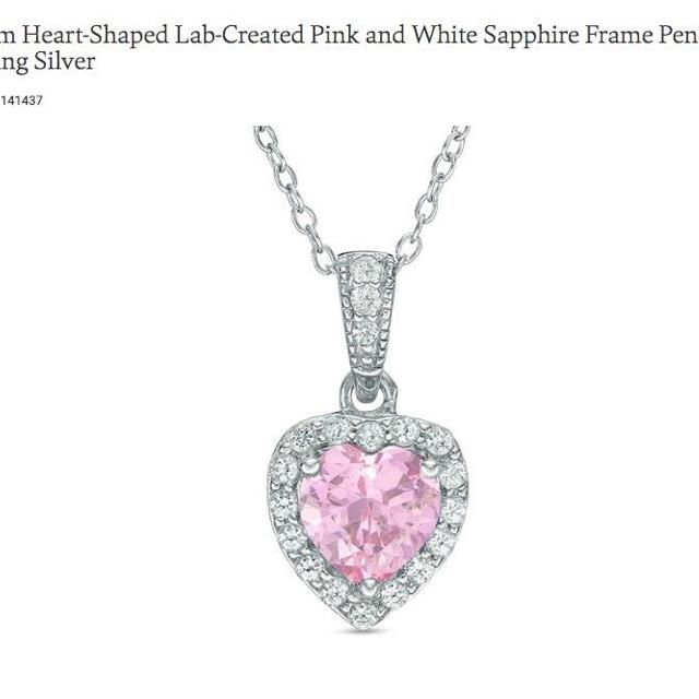 Zales Heart Shaped Lab Created Pink White Sapphire Pendant In Sterling Silver