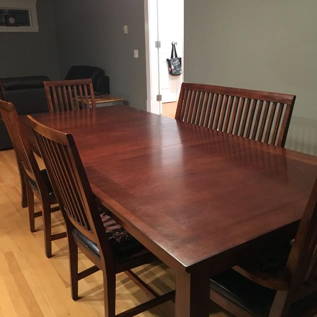 Large Dining Table Chairs And Bench