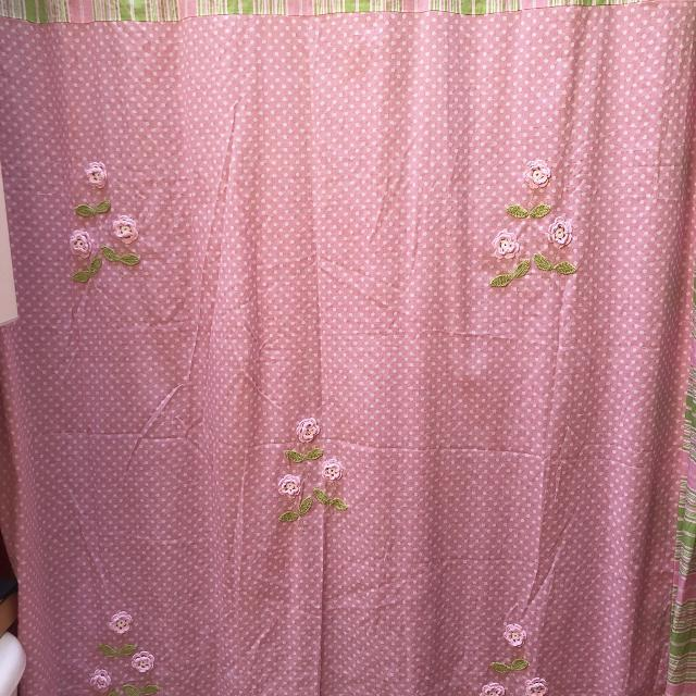 Find more Pretty Pink And Apple Green Fabric Shower Curtain With ...