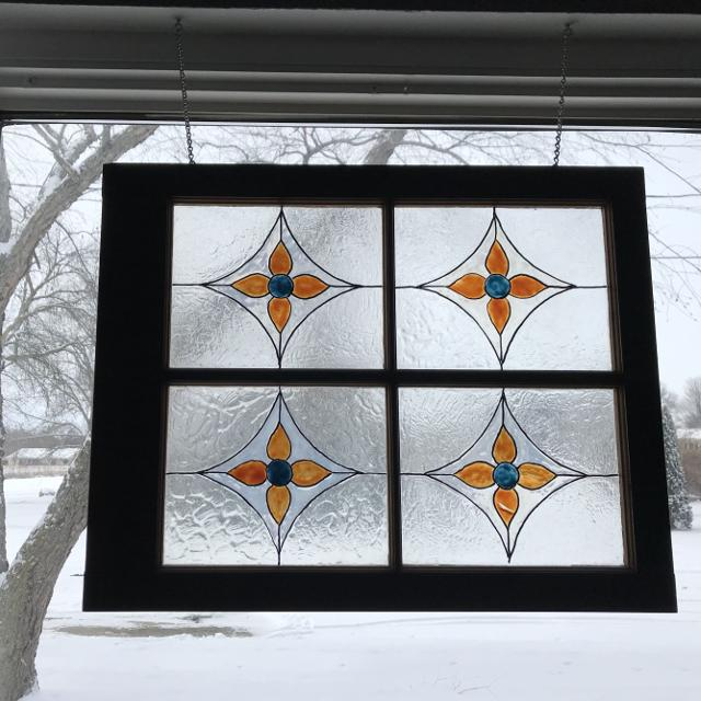 Stained Gl Window Hanger With Hardware Price Drop