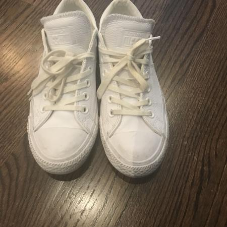 Ladies white leather converse, used for sale  Canada
