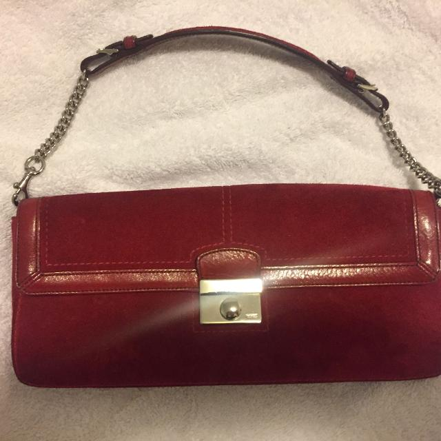 Best Coach Red Suede Purse for sale in Staten Island 14df9b4785bbb