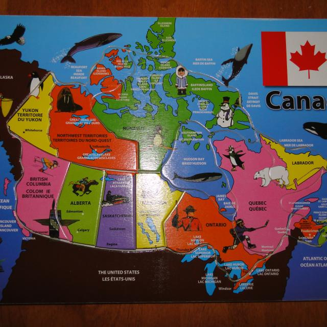 Map Of Canada Puzzle.Wooden Map Of Canada Puzzle