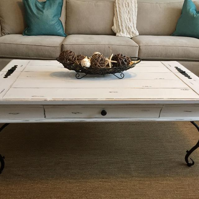 Find More Freshly Refurbished White Coffee Table With Black Iron Legs For Sale At Up To 90 Off