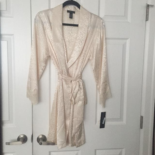 Best Beautiful Ivory Silky Dressing Gown - Sz: S/m for sale in ...
