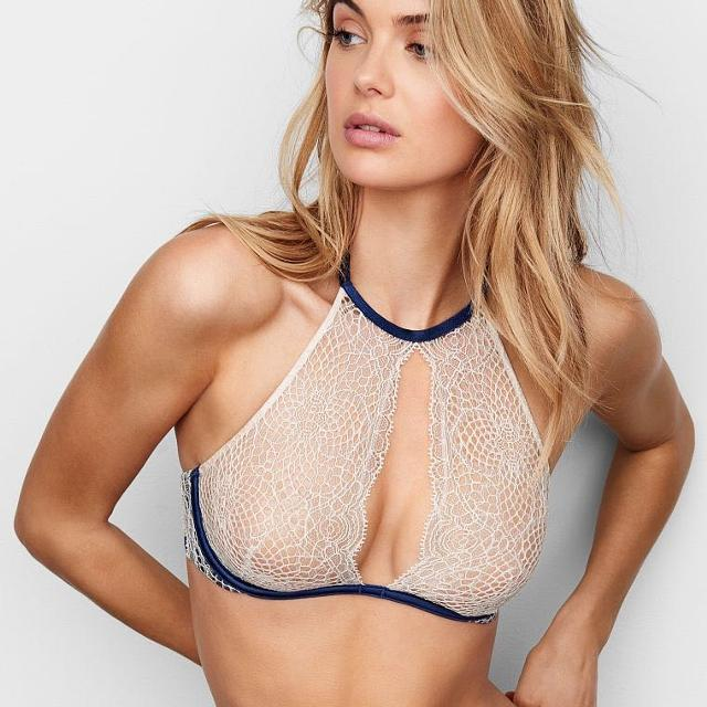 aa4a0737c3 Best Victoria s Secret Crochet Lace High Neck Unlined Bra for sale in  Yorkville