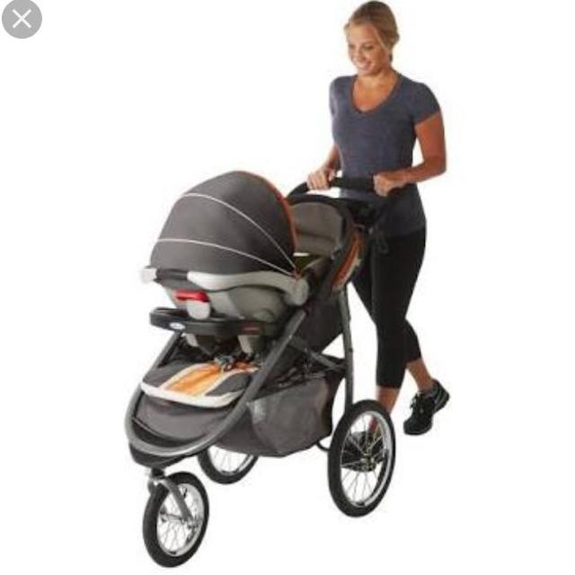 Graco Fastaction Fold Jogger Travel System With Snugride Click Connect 35 Infant Car Seat Tangerine