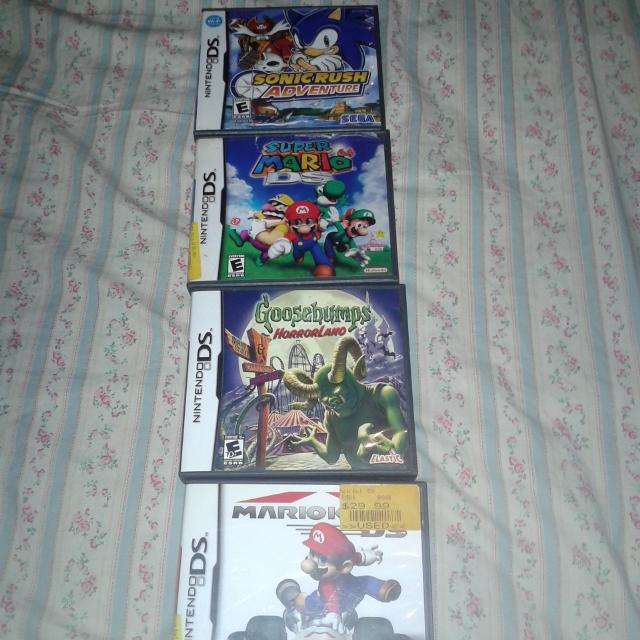 4 Dsi games, Sonic rush adventure, Goosebumps Horrorland, MarioKart, Super  mario 64