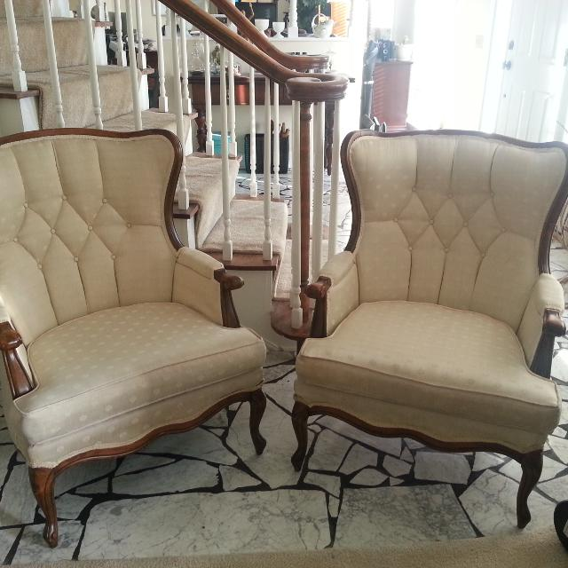 (2) Cream Antique Sitting Chairs with wood accents - Best (2) Cream Antique Sitting Chairs With Wood Accents For Sale In