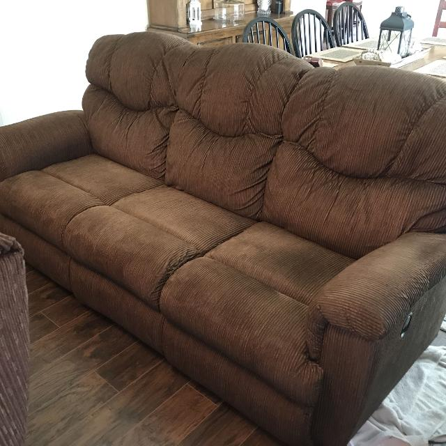 La-Z-Boy Brown Corduroy Sofa & Oversized Recliner