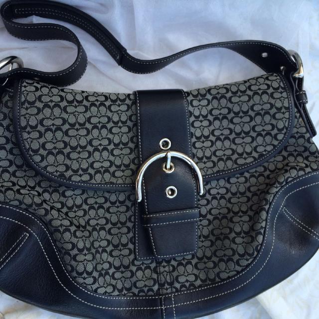 bebf129d9b Best Authentic Coach Black   Gray Mini-signature Soho Buckle Flap Hobo Bag.  for sale in Temecula