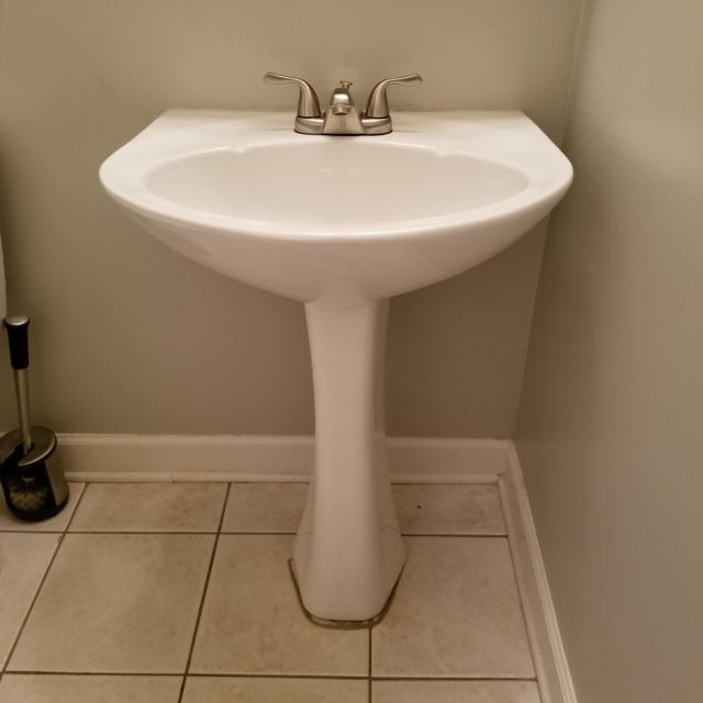 Best White Pedestal Sink And Satin Nickel Faucet 34 In Height