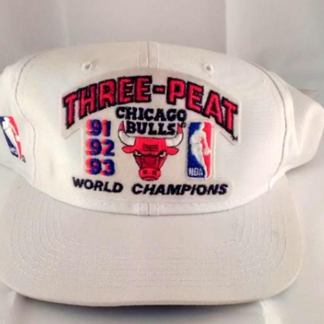a1be4225489 Best 1993 Chicago Bulls Three Peat Nba World Champions Hat Tags 3 Peat 91  92 Jordan for sale in Peoria