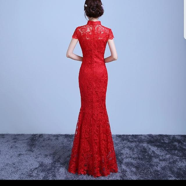 Best Worn Once For 15 Mins Red Lace Chinese Wedding Dress Kwa For
