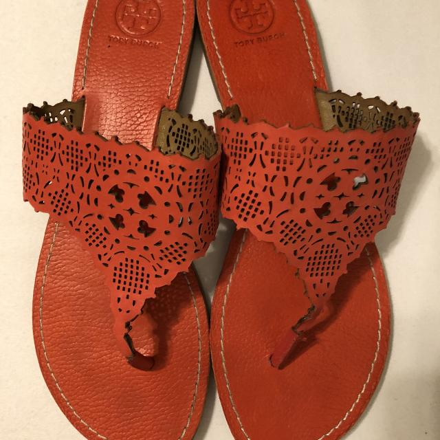 02d2494adb358 Find more Tory Burch Roselle Cut Out Thong Sandals Orange Size 10 ...