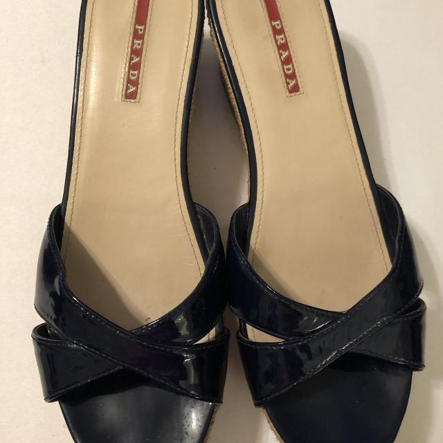 96ebd173b6a Find more Prada Cork Wedge Sandals Navy Blue Patent Leather. Size ...