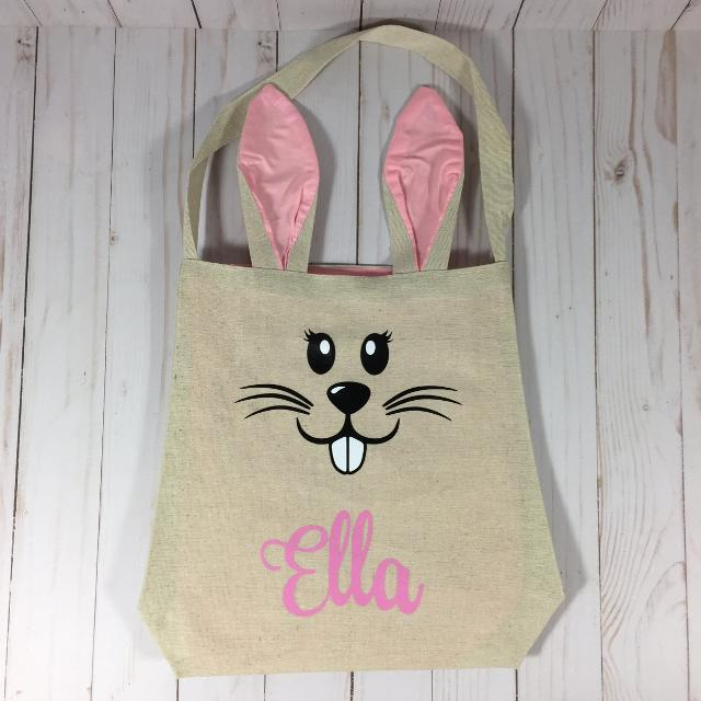 77ac061e8cd1 Personalized Easter Bunny Bag (Pink/Blue)