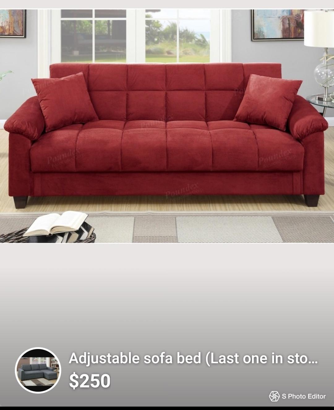 Brand new red sofa bed.