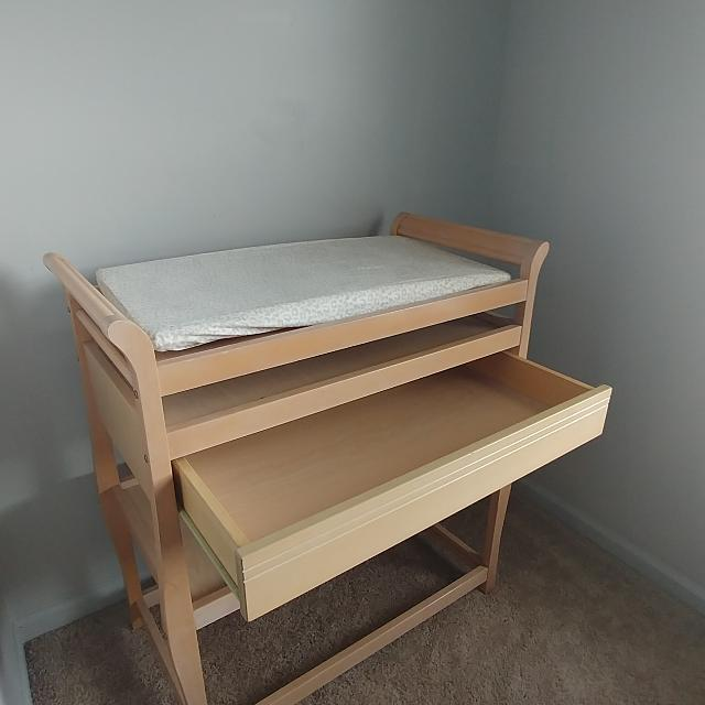 Light Wood Changing Table
