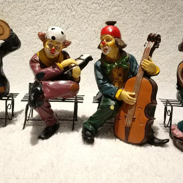 Set of 4 Vintage Clown Figurines Playing Musical Instruments