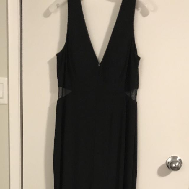Find More Long Black Dress With Mesh Cutouts And Front Slit For Sale
