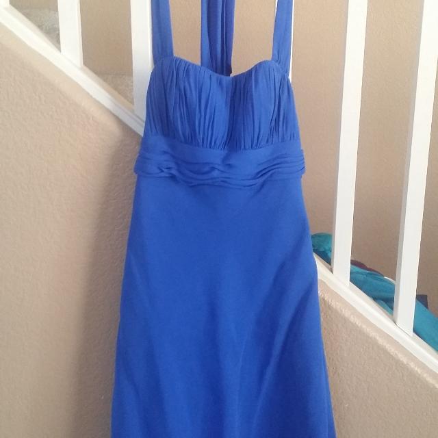 Royal Blue Halter Knee Tea Length Dress