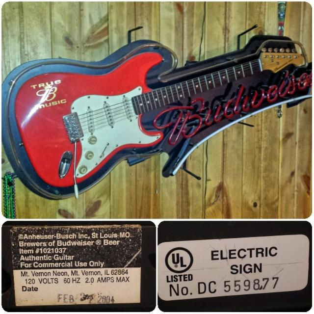 Best Rare Budweiser Aria Guitar Neon Sign for sale in