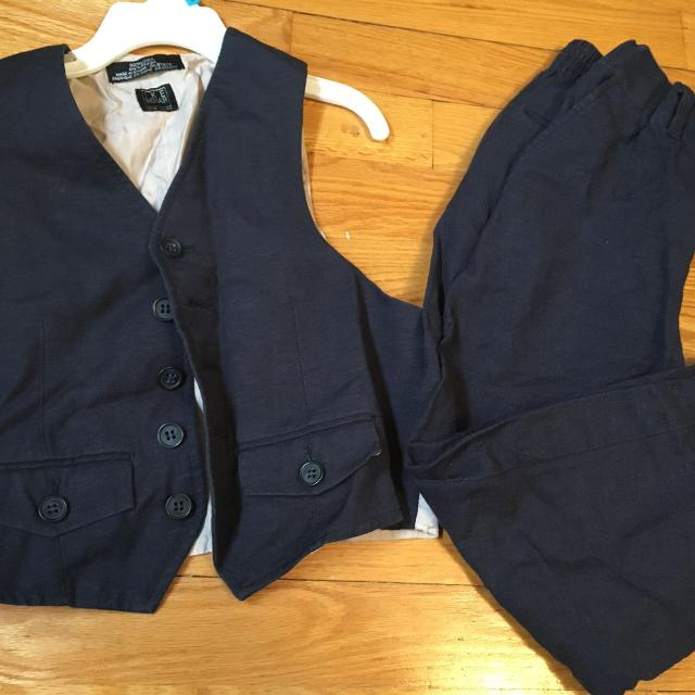 aedcfe5cd Best Gorgeous Linen Navy Blue Vest And Pant Suit For Boys Size 6 for ...