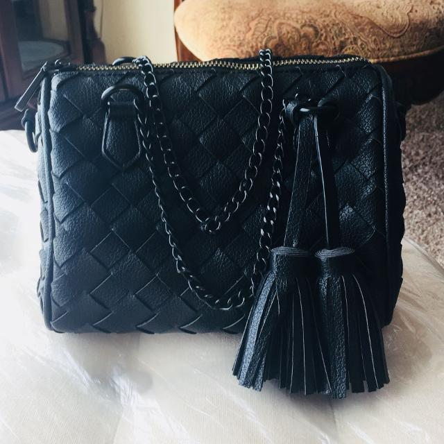 Black Leather Quilted Tote Bag