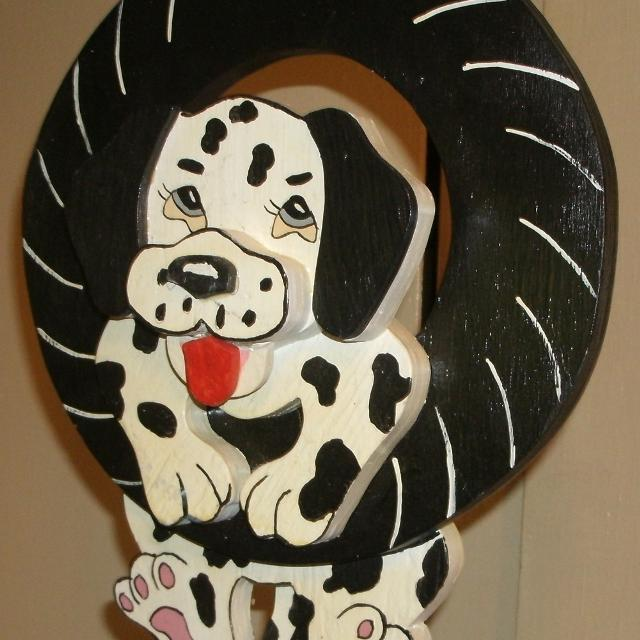 Dalmation puppy tire swing - wood ornament