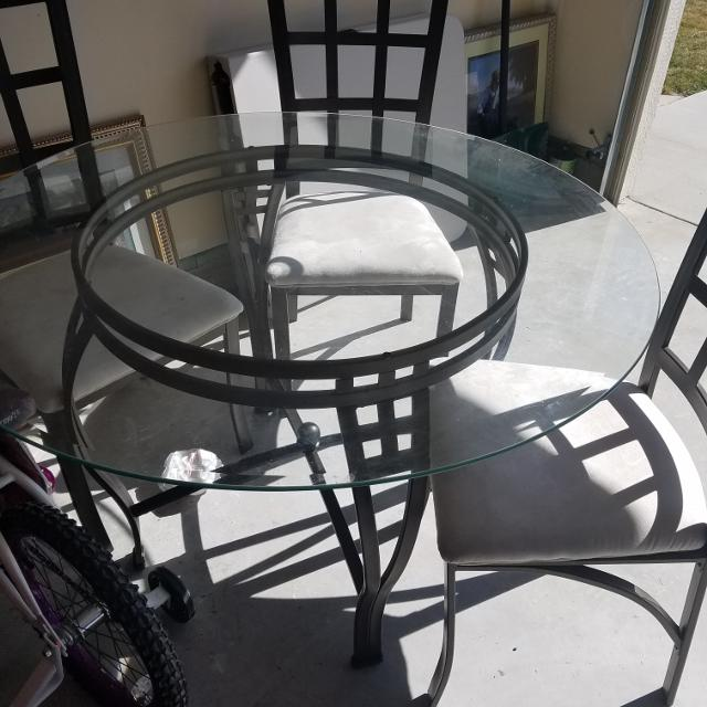 find more round glass table and 3 chairs for sale at up to 90 off