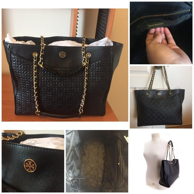 68652d8b9534 BEAUTIFUL AUTHENTIC TORY BURCH Quilted Bryant Leather Tote Bag in Black