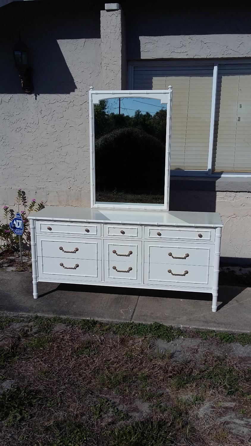 Faux Bamboo Dresser With Mirror