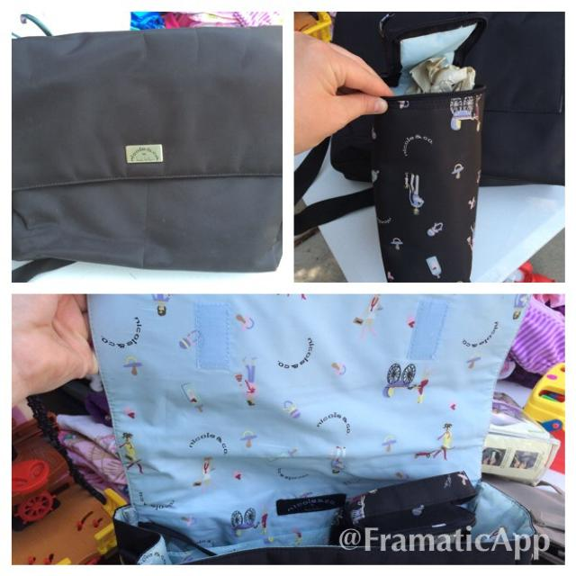 Super Cute Nicole Miller Black Diaper Bag In Euc And Comes With Separate Bottle