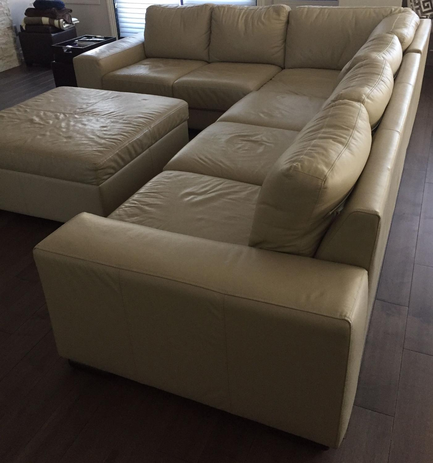 Genuine Leather Sectional Sofa Canada: Find More Leather L-sofa & Ottoman For Sale At Up To 90