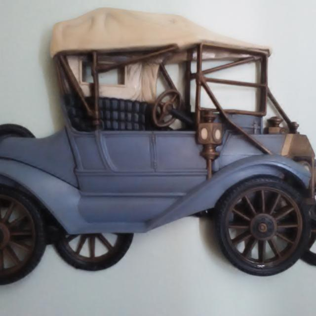 Vintage Burwood Products 1977 Plastic Car Wall Decor Ford Model T Convertible