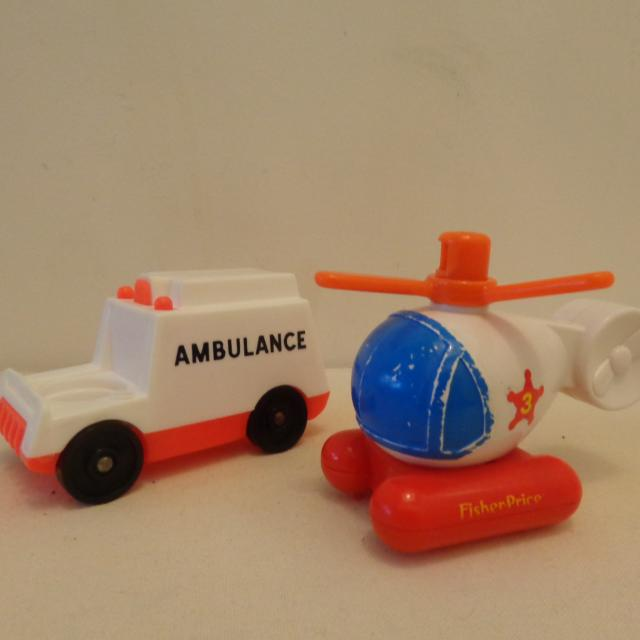 Vintage Fisher Price Ambulance and Heleicopter